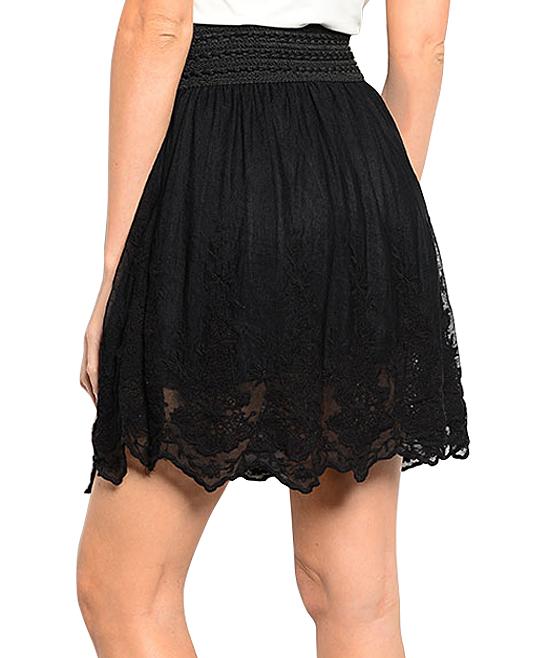 shop the trends black lace trim a line skirt zulily