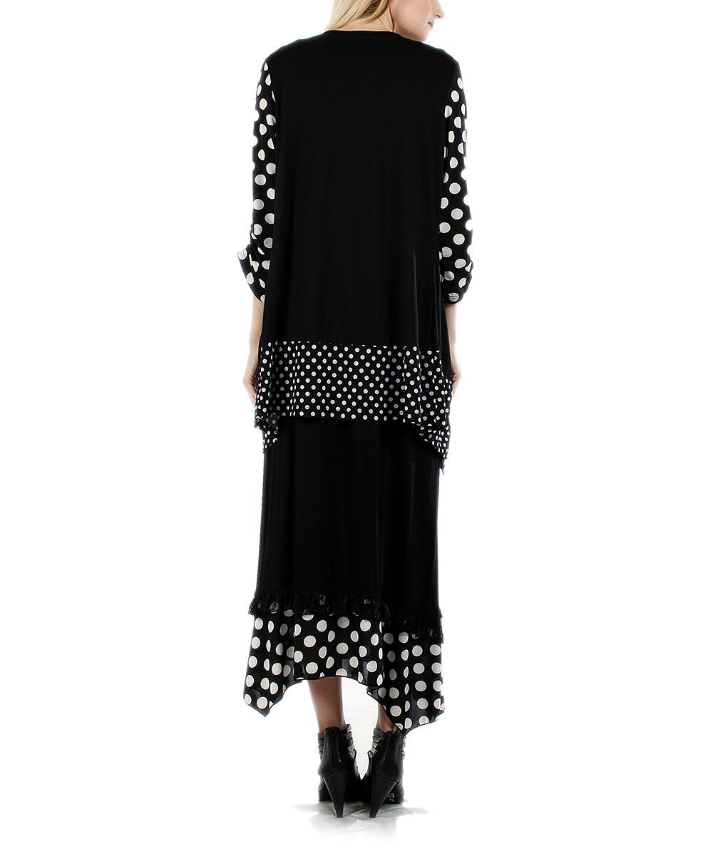 aster black white polka dot tunic midi skirt zulily