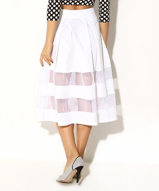 white mesh stripe midi skirt zulily