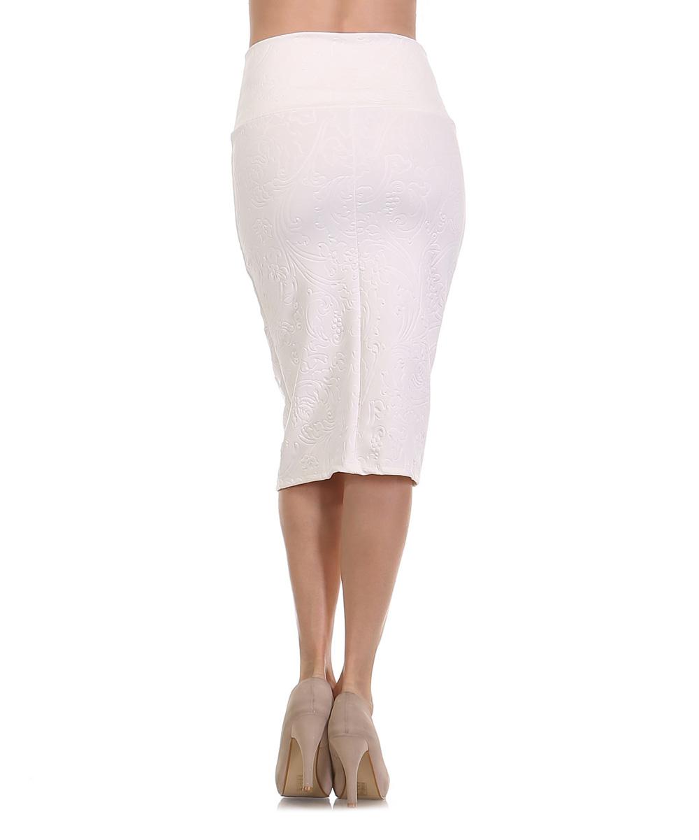 bold beautiful white filigree pencil skirt zulily