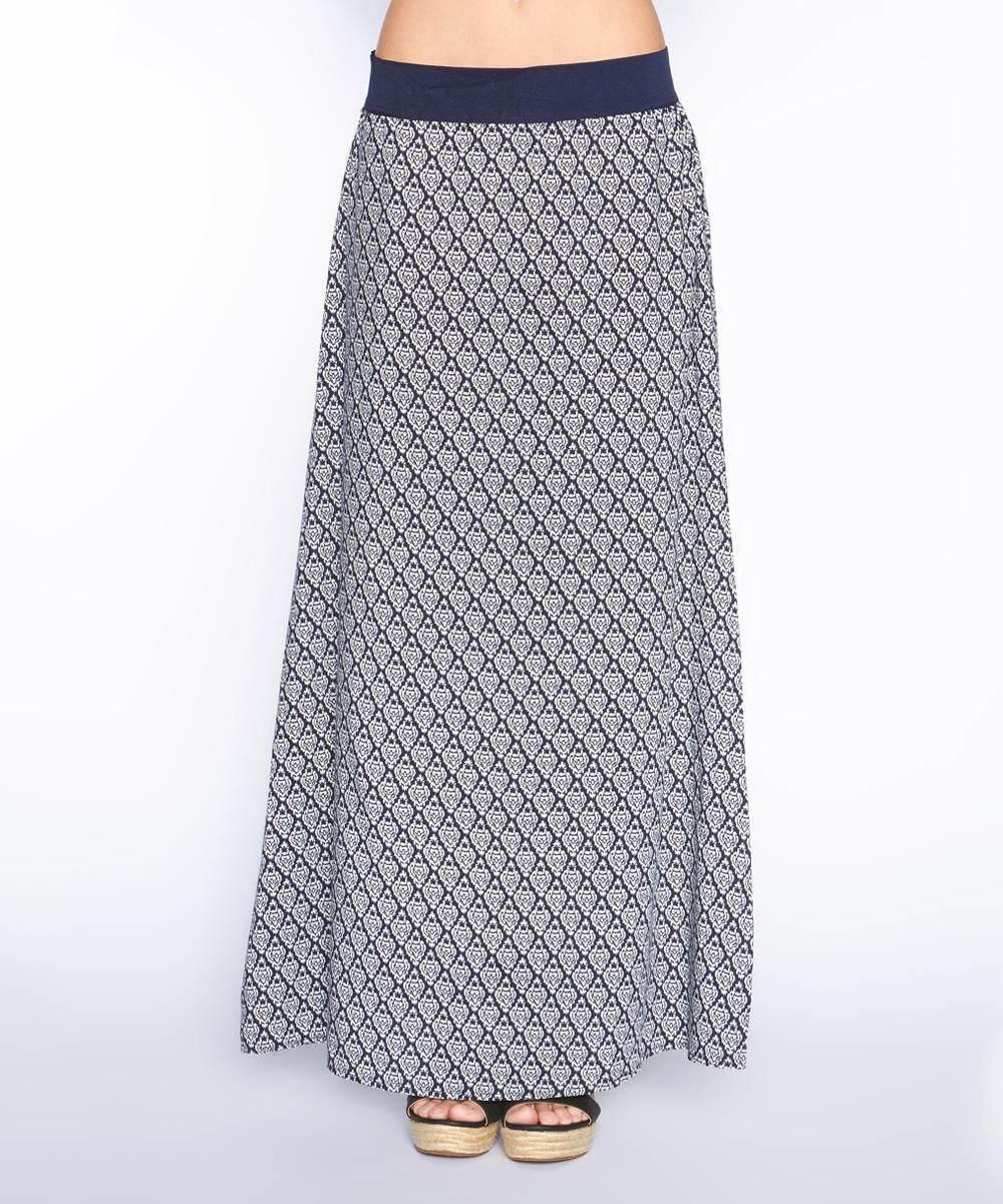 navy white geometric maxi skirt