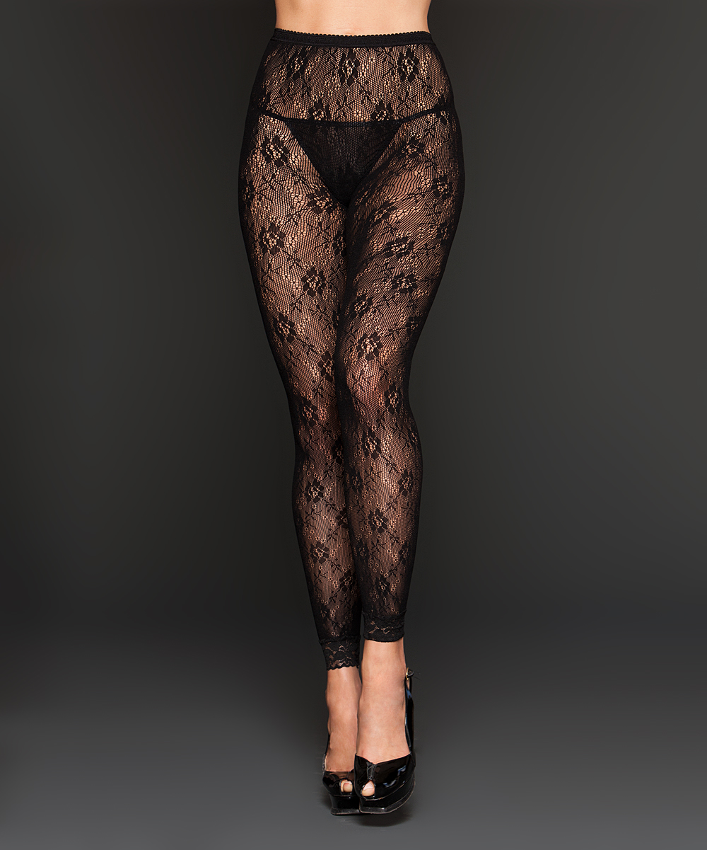 iCollection Black Floral Lace Leggings - Women | zulily