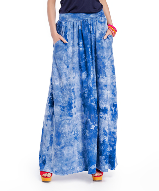 m blue tie dye maxi skirt zulily