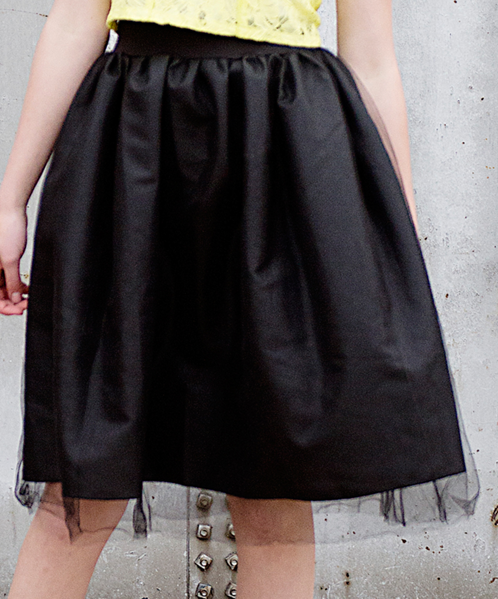 black tulle a line skirt