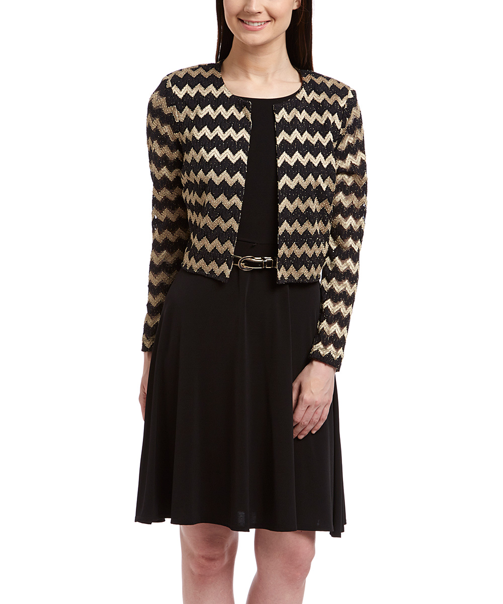 black gold chevron belted dress open blazer