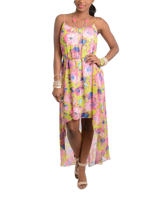 flower pink yellow belted hi low dress zulily