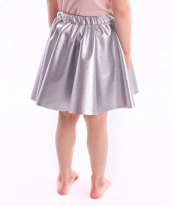 dodo gray melange faux leather circle skirt toddler