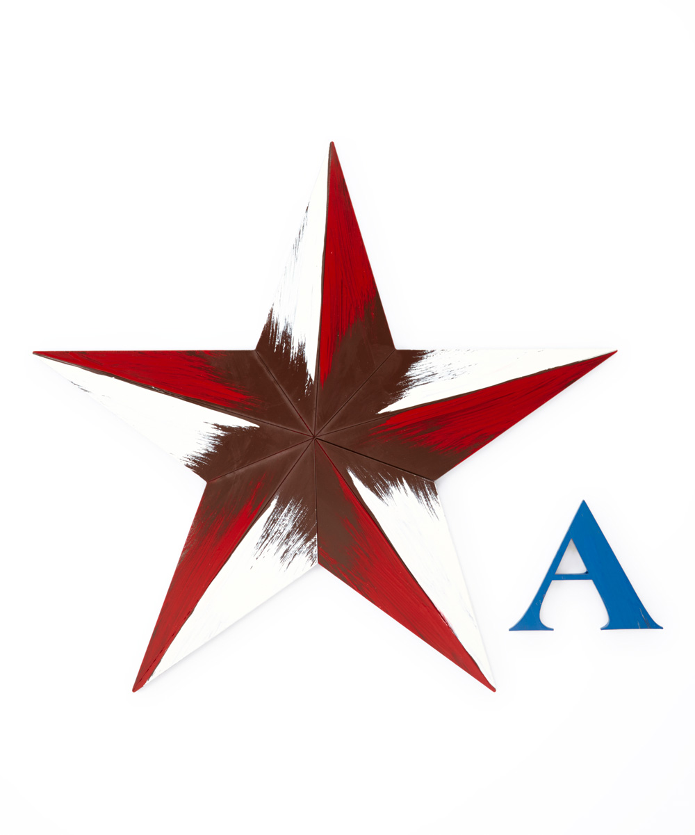 Red Star Wall Decor : Letter word red white star initial wall art zulily