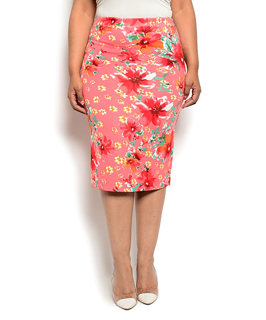 pink floral pencil skirt plus zulily