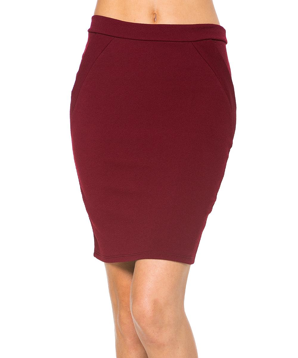 magic fit burgundy pencil skirt zulily