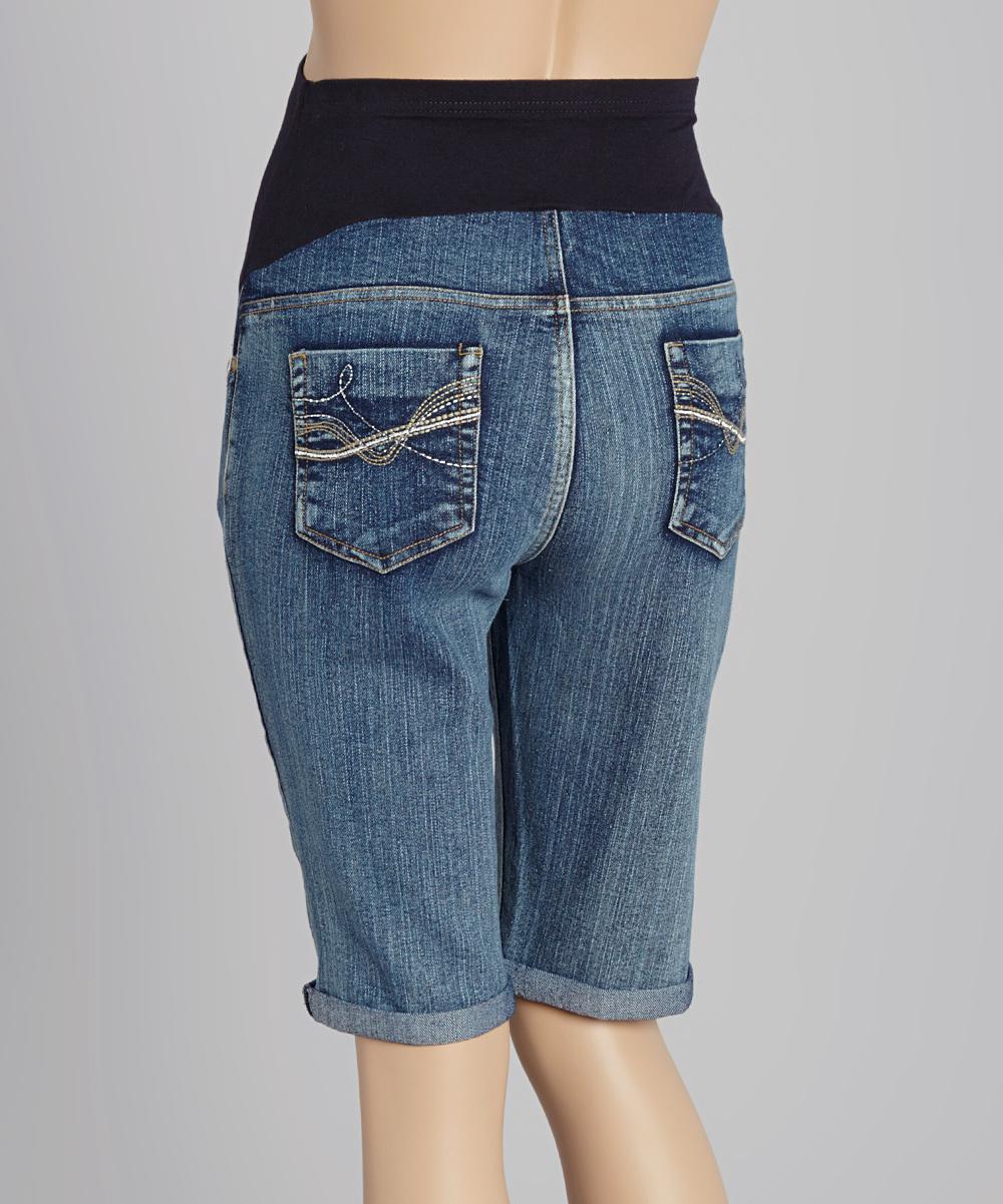 oh mamma light wash over belly maternity bermuda jeans. Black Bedroom Furniture Sets. Home Design Ideas