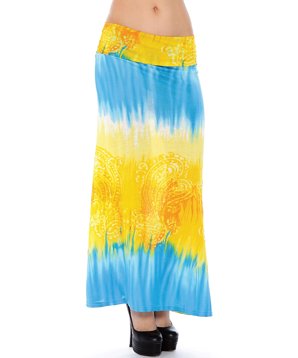 true rock yellow turquoise tie dye maxi skirt zulily
