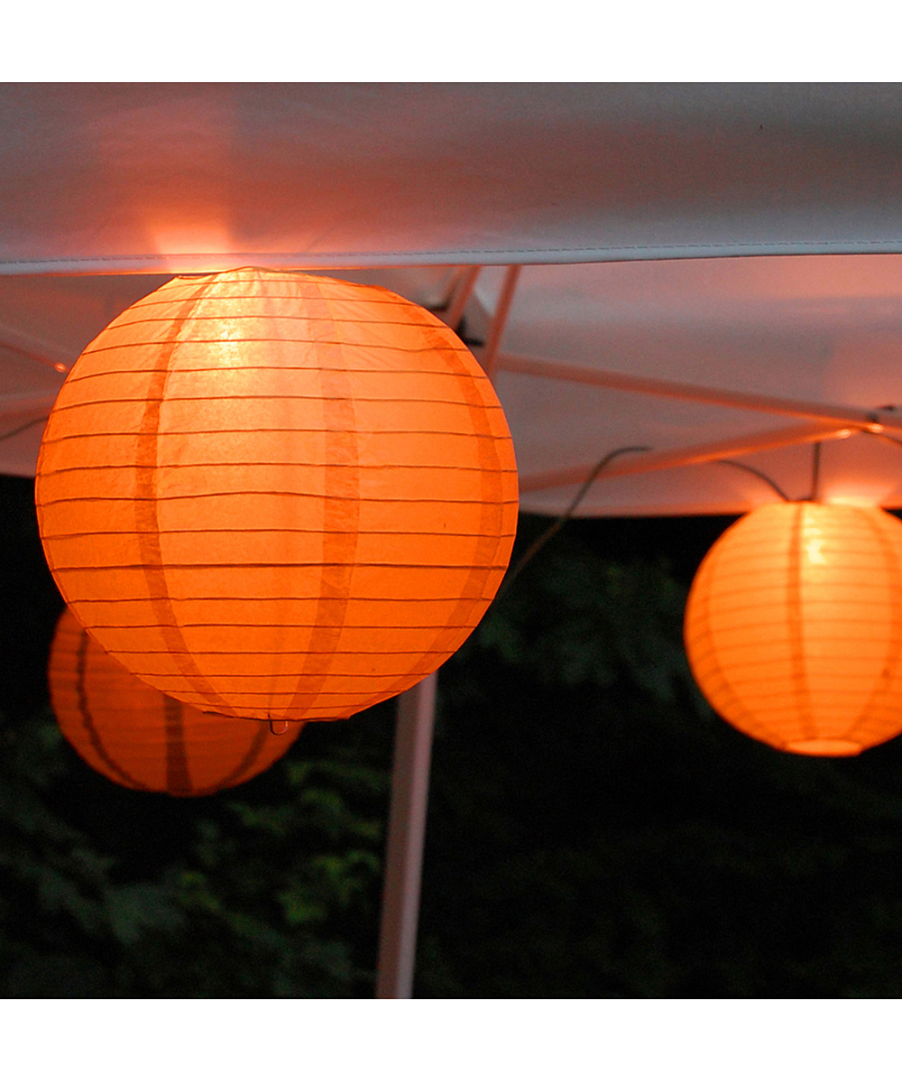 LumaBase Orange Paper Lantern Electric String Light - Set of 10 zulily