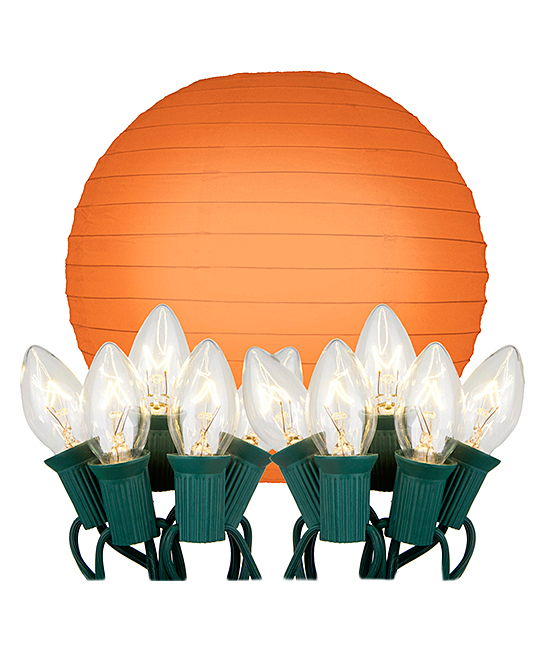 LumaBase Orange Paper Lantern Electric String Light - Set of 10 zulily