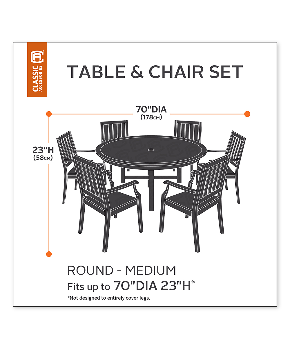 classic accessories round patio table chair set cover zulily