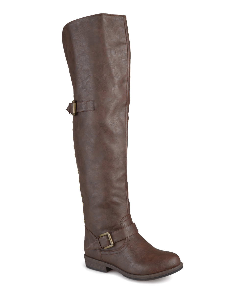 journee collection brown wide calf the knee boot