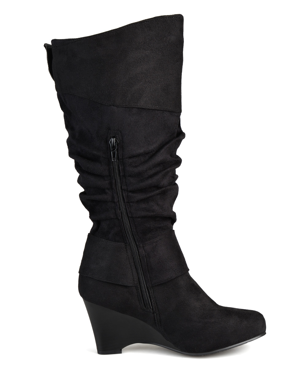 journee collection black irene wedge wide calf boot zulily