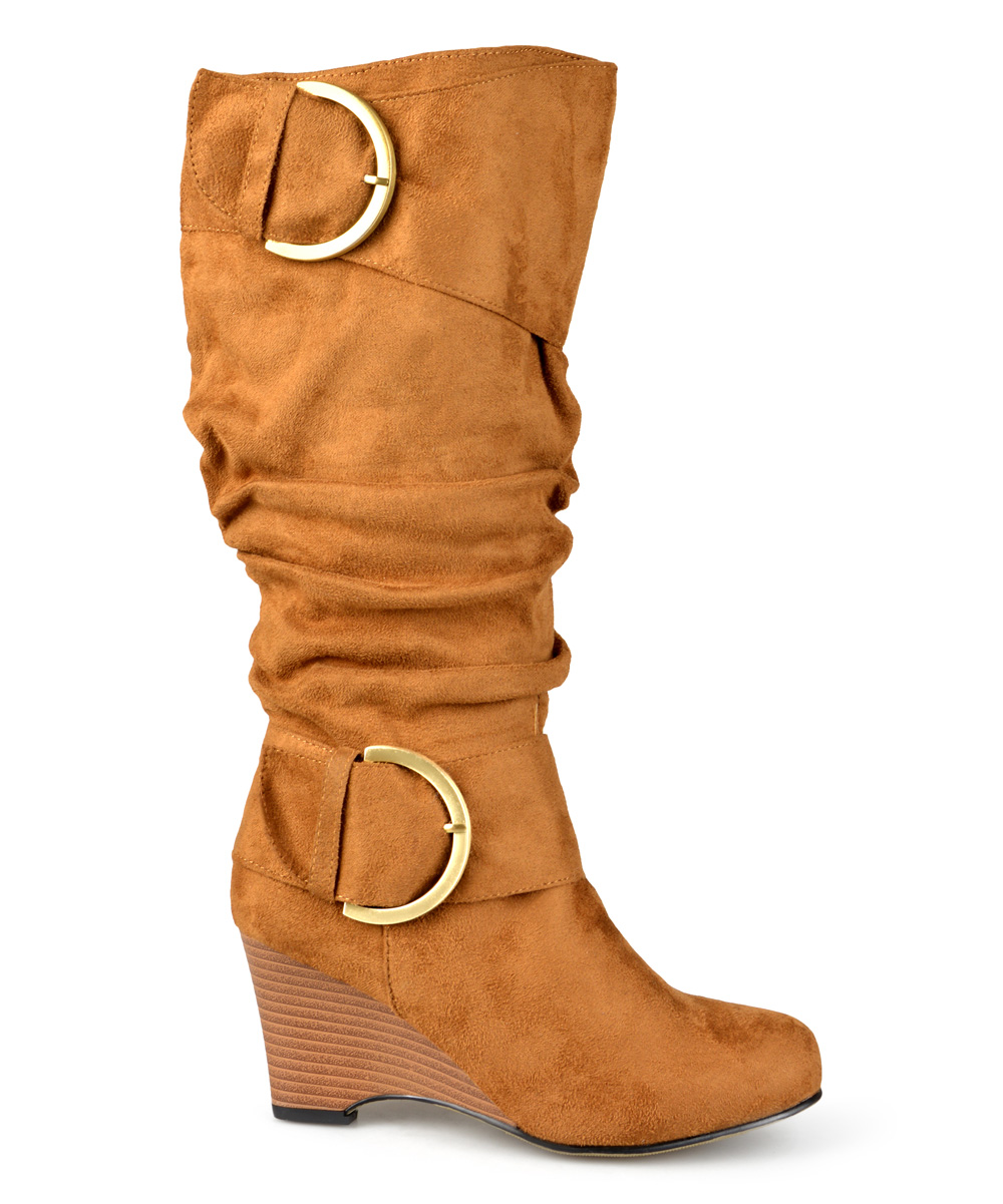 journee collection chestnut irene wedge wide calf boot