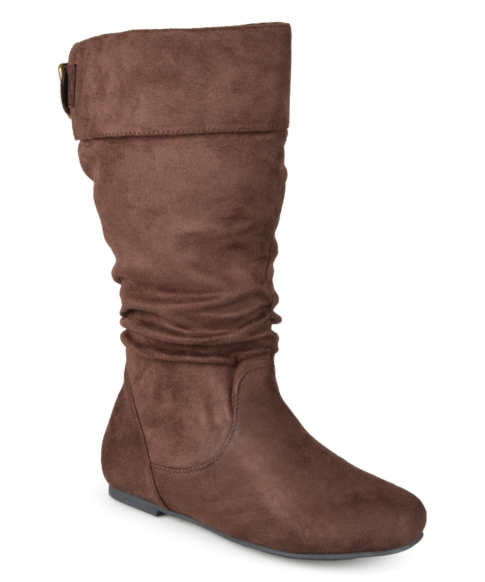 brown shelley slouch wide calf boot