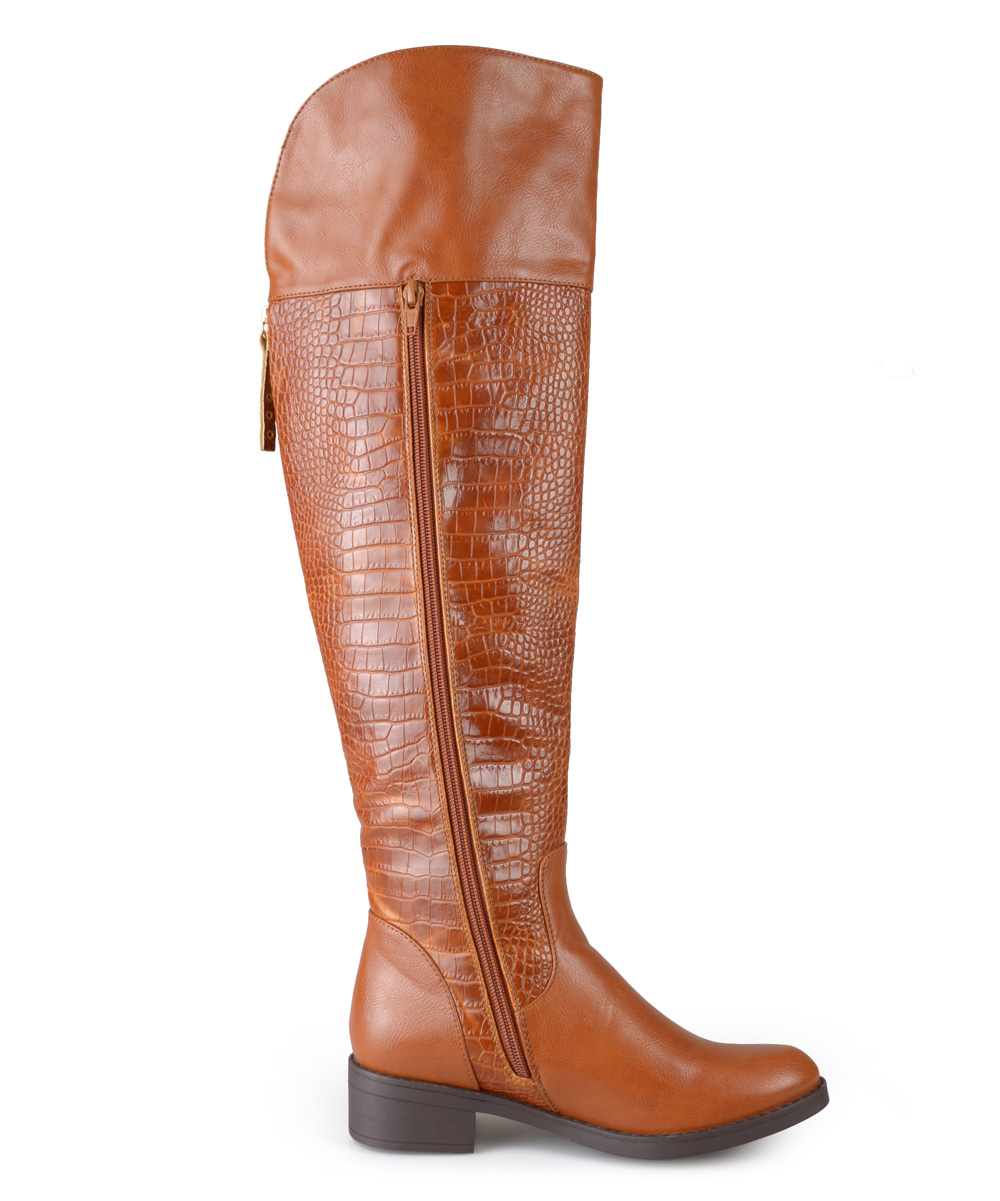 journee collection cognac faux croc plica wide calf boot