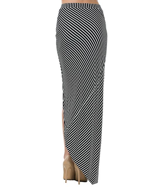 cqbycq black white stripe knotted maxi skirt zulily