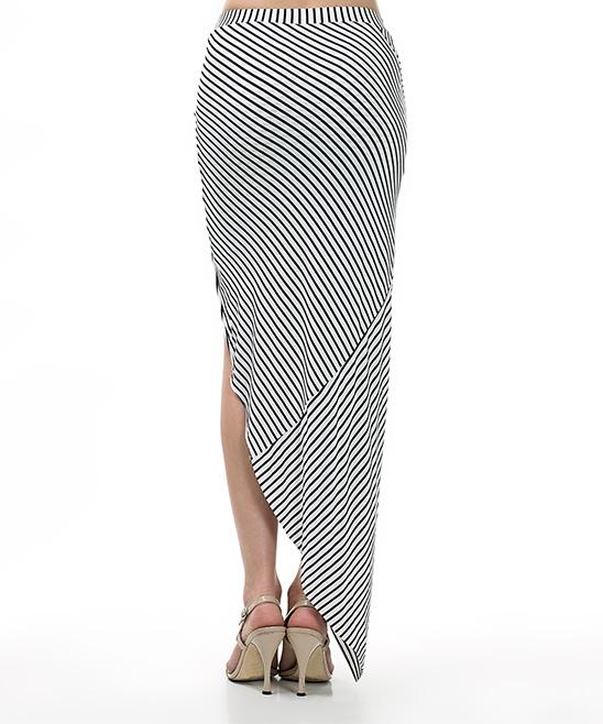 cqbycq white black stripe knotted maxi skirt zulily