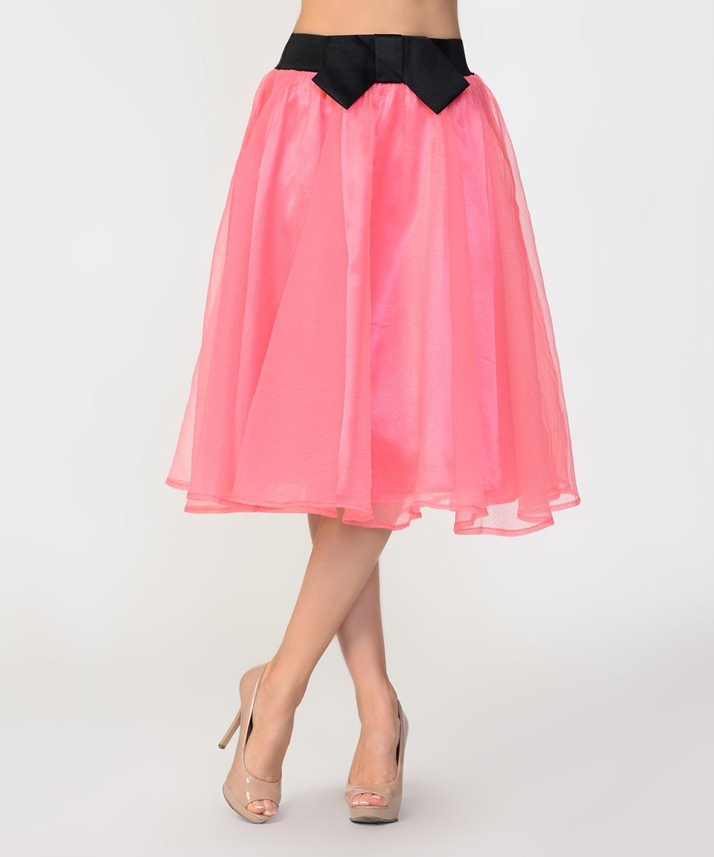 bellino coral bow midi skirt zulily