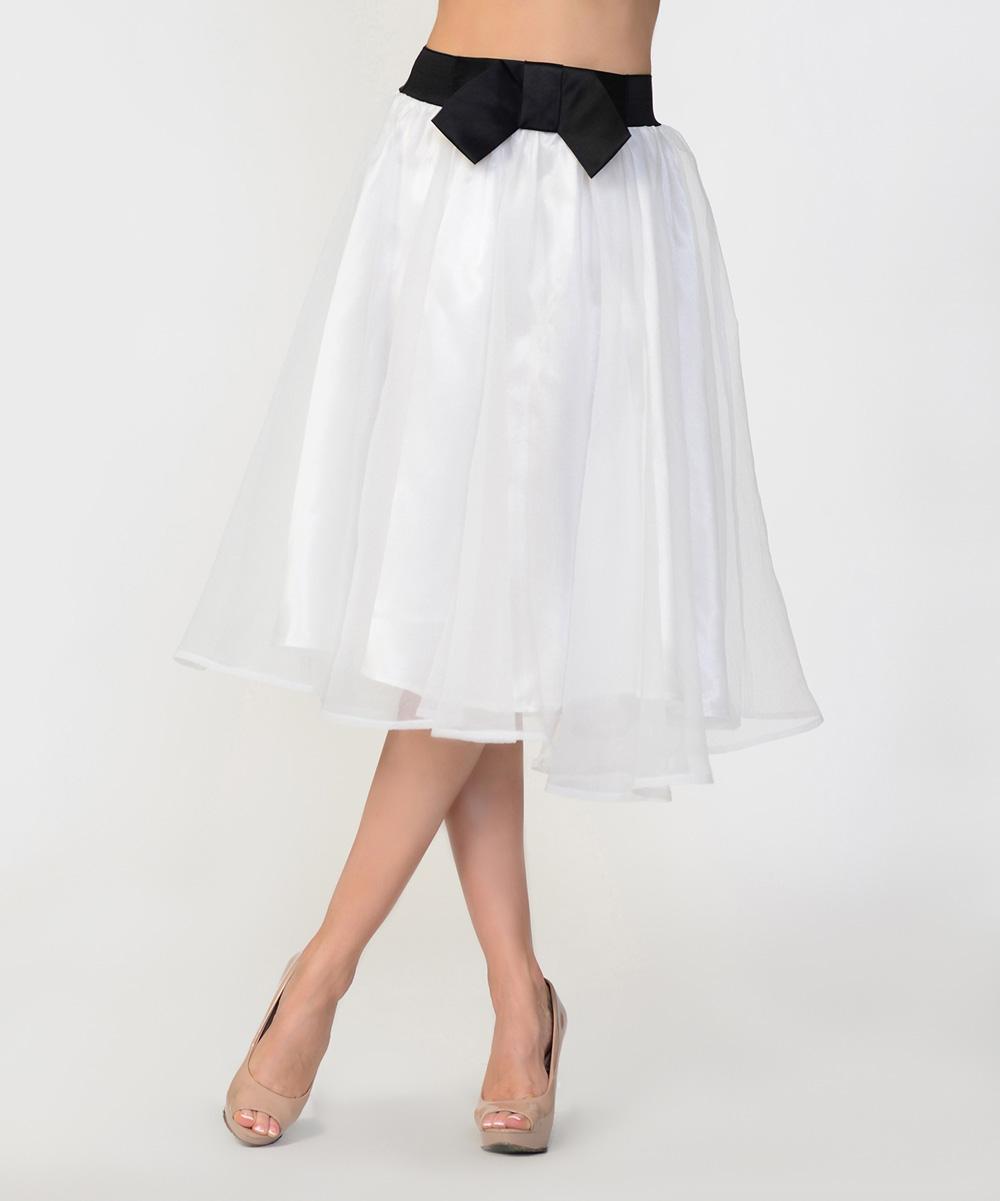 bellino white bow midi skirt zulily