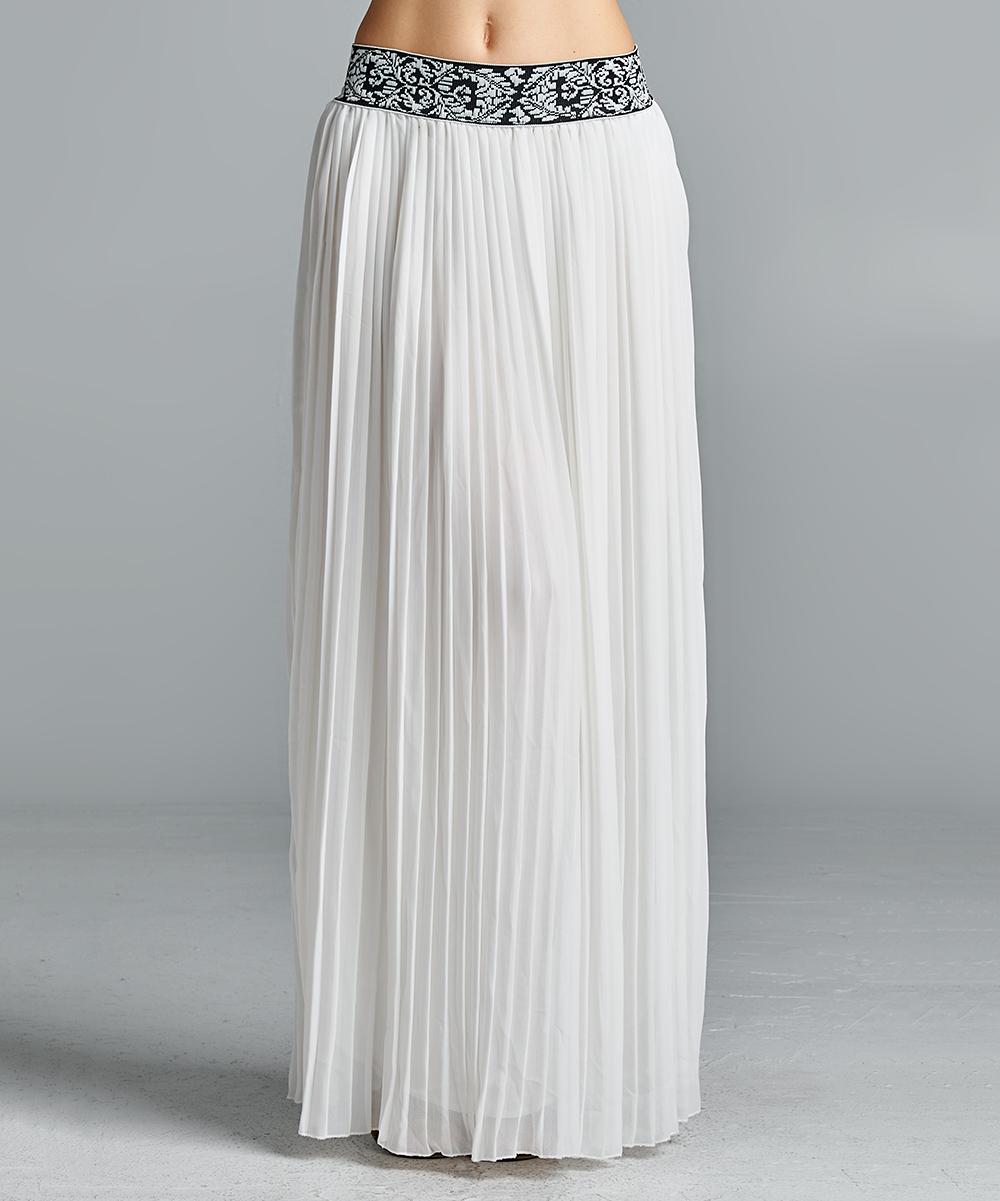 white pleated maxi skirt plus