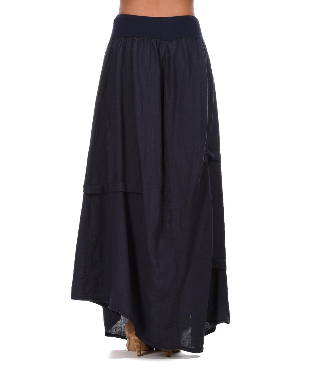 pour lautre navy blue maurine linen maxi skirt