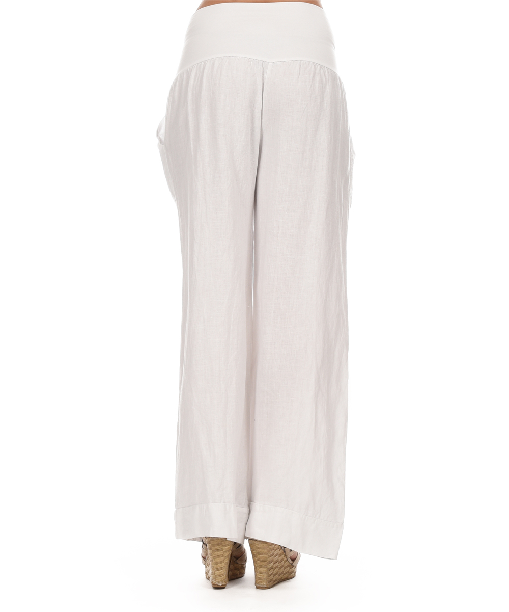 Elegant Gosilknaturallinenbuttonfronttunicstraightleglinenpants
