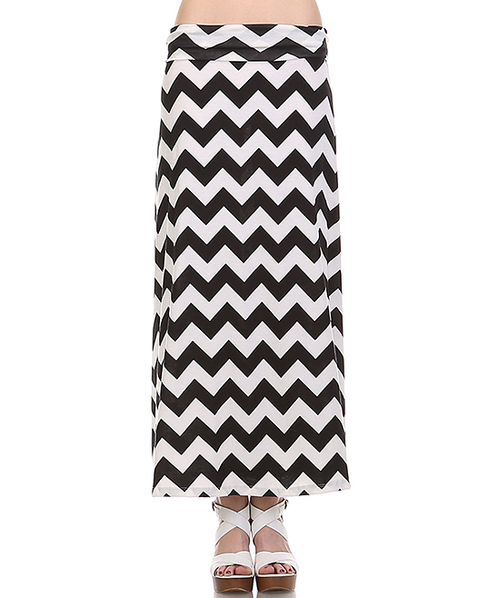bold beautiful black white chevron maxi skirt zulily