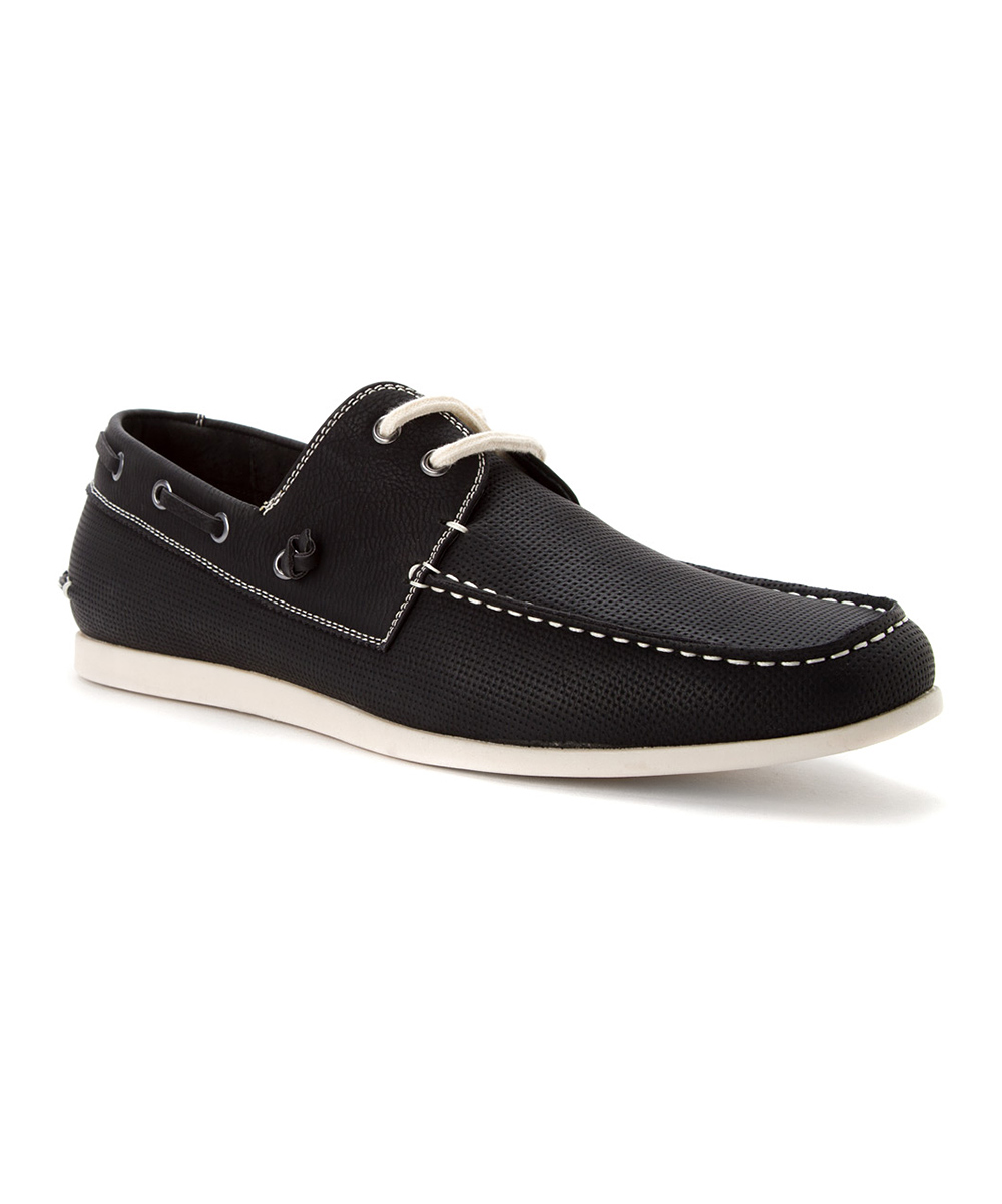 black gameon leather boat shoe