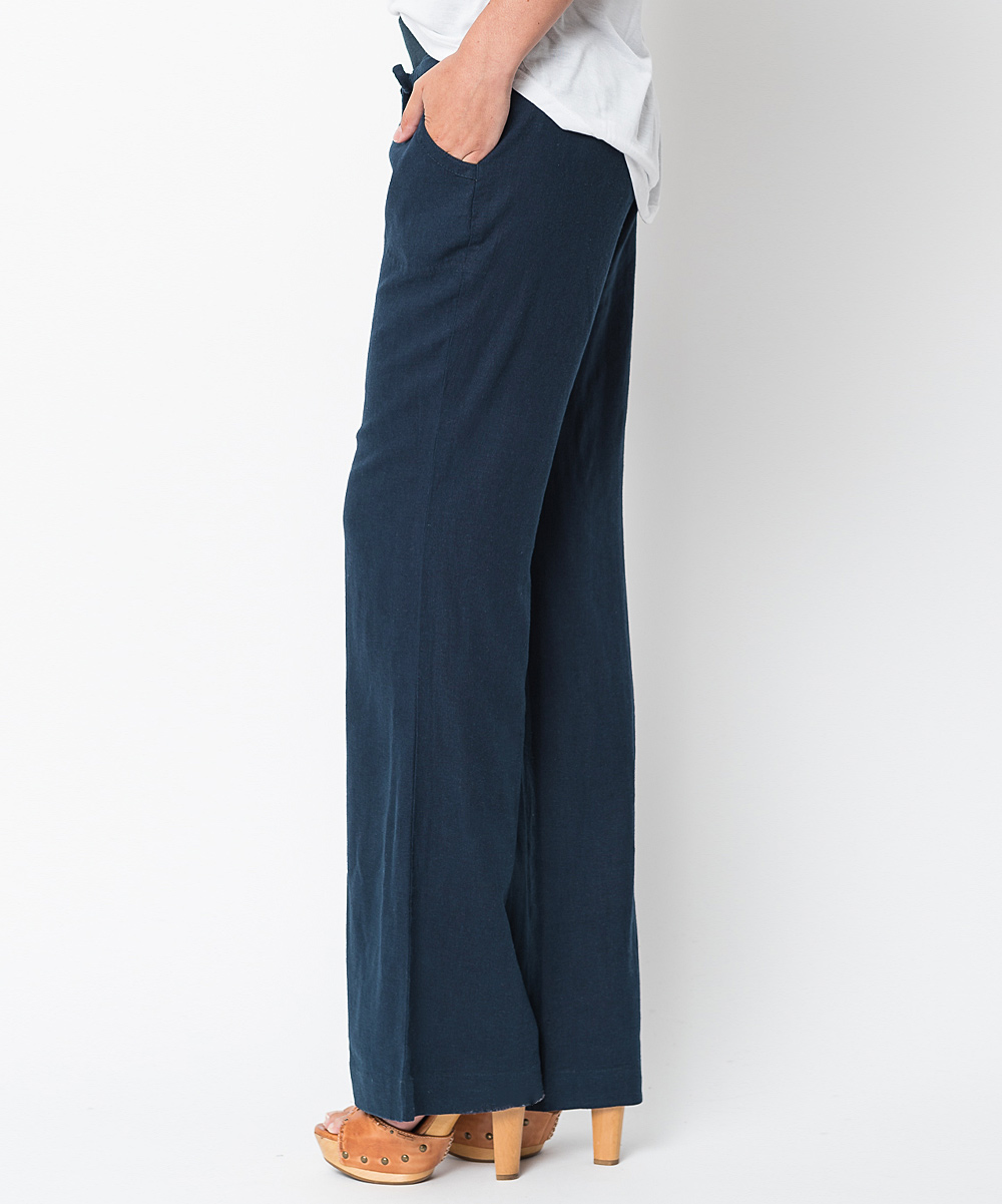 Beautiful Emma Jones Navy Blue WideLeg Linen Pants  Zulily