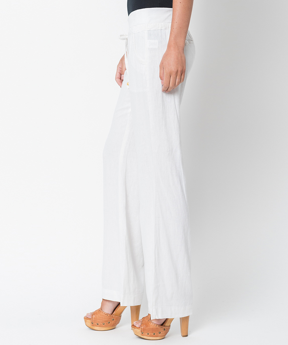 Elegant Squish Women39s Linen  Rayon Pants  White  Large