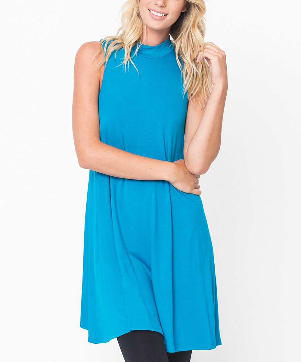 Caralase Turquoise Mock Neck Tunic - Women   zulily