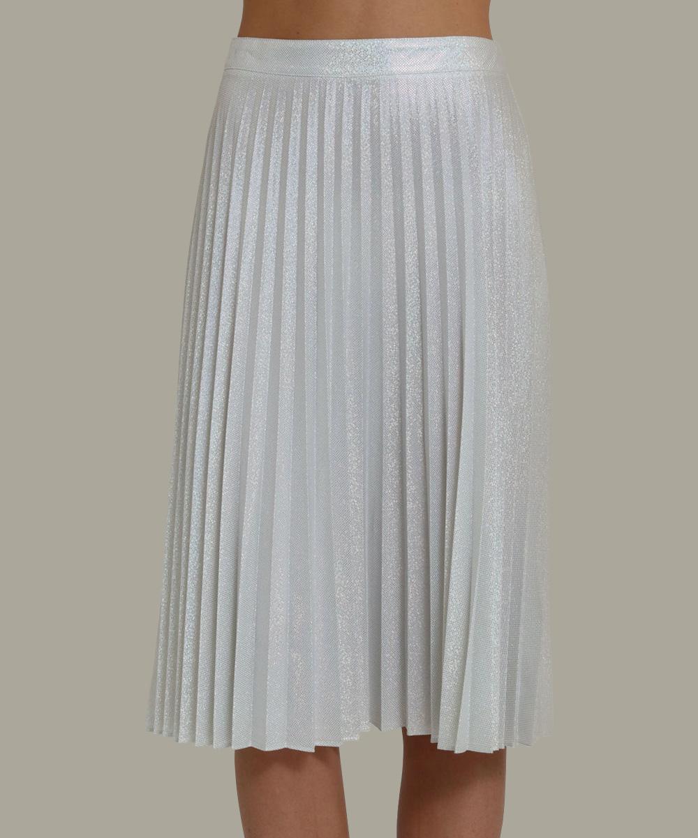 silver pleated midi skirt