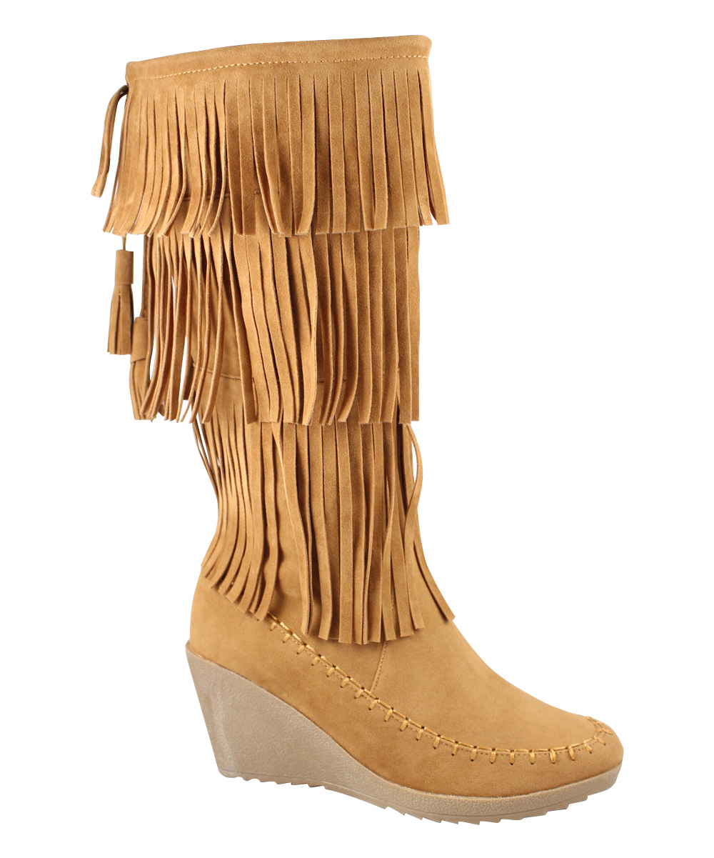 jessy fringe wedge boot zulily