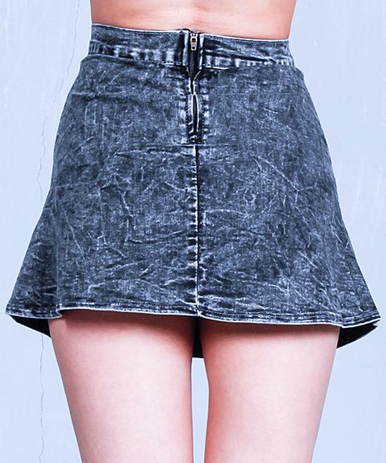 black acid wash denim skirt zulily