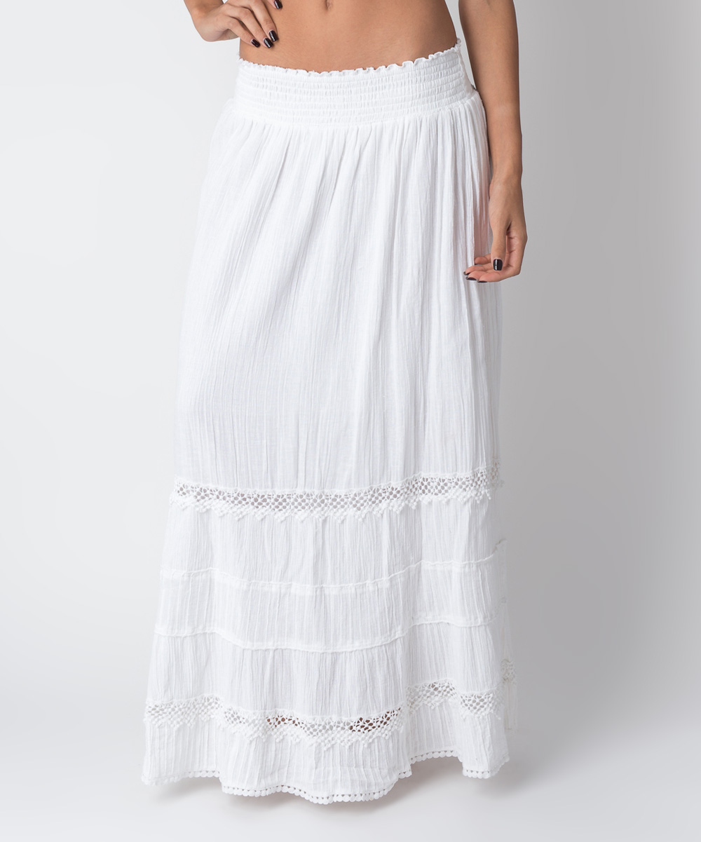 white eyelet shirred maxi skirt