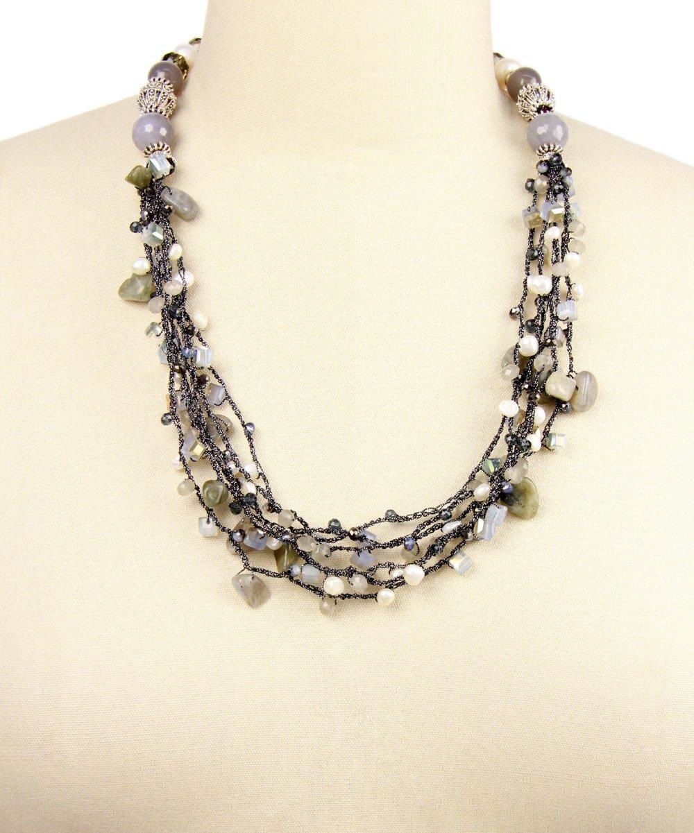 saachi style gray agate bead bib necklace zulily