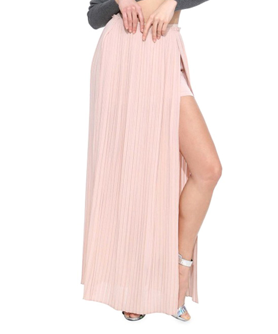 haoduoyi pink sheer accordian pleat maxi skirt zulily