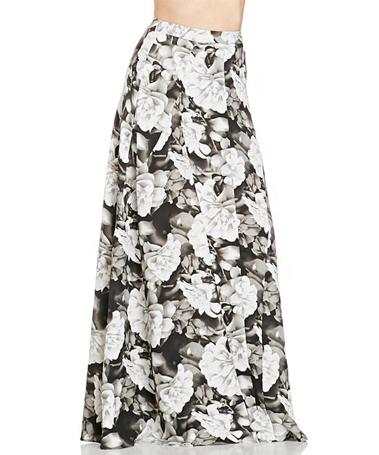 black white floral a line maxi skirt