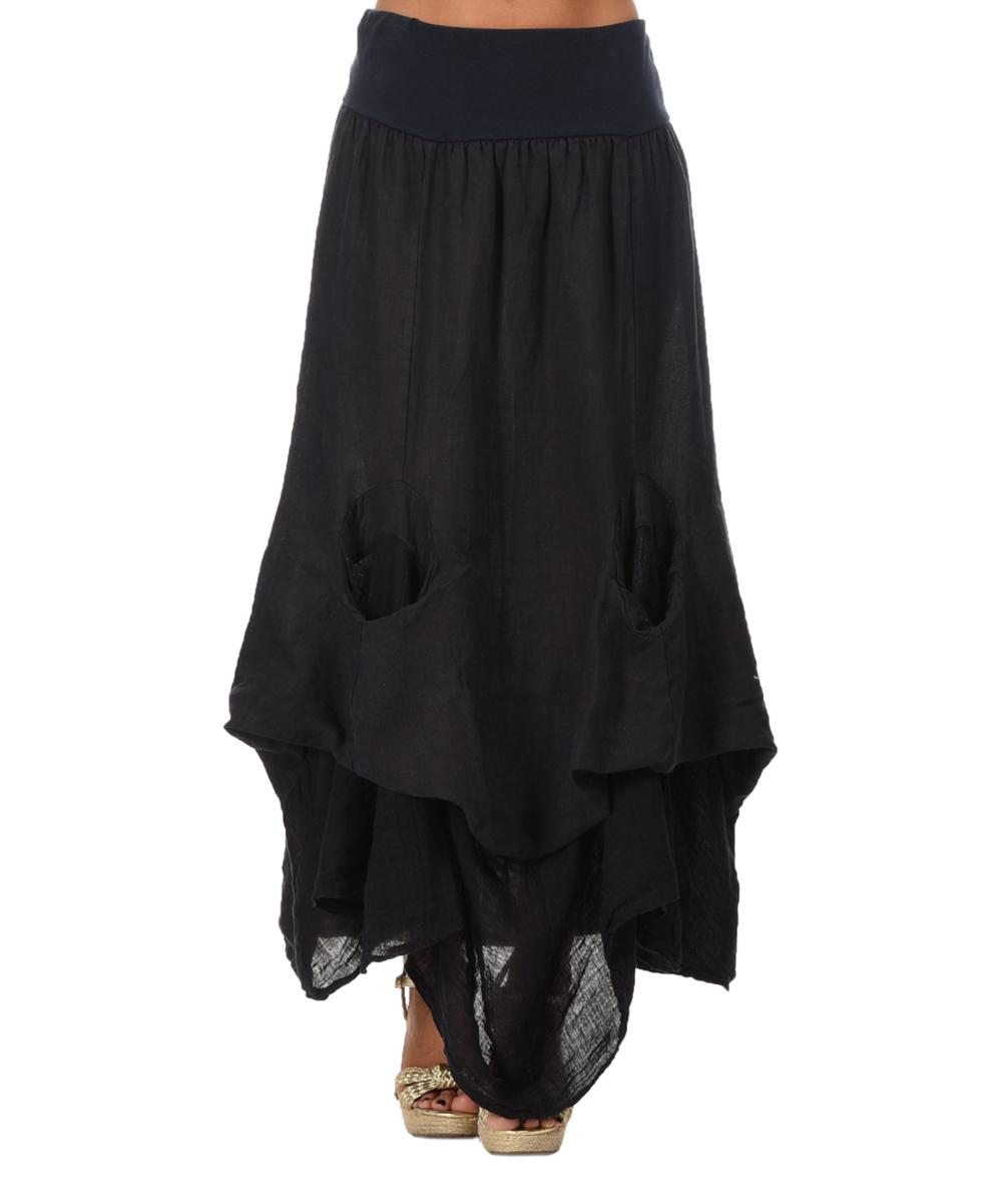 etienne marcel navy blue linen handkerchief maxi skirt