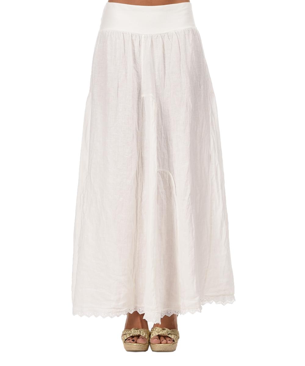 etienne marcel white linen maxi skirt zulily