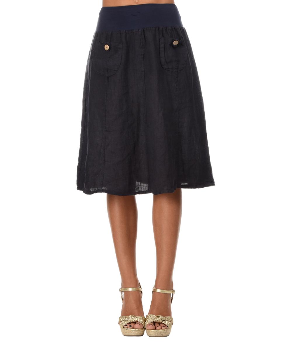 navy blue linen a line skirt