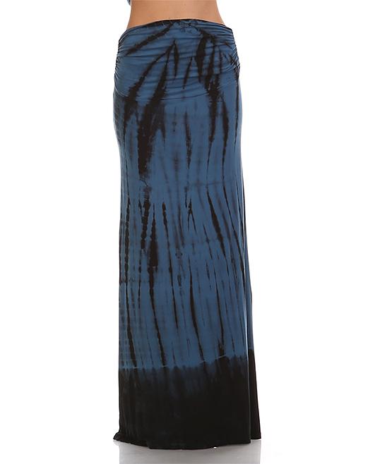 x teal black tie dye maxi skirt zulily