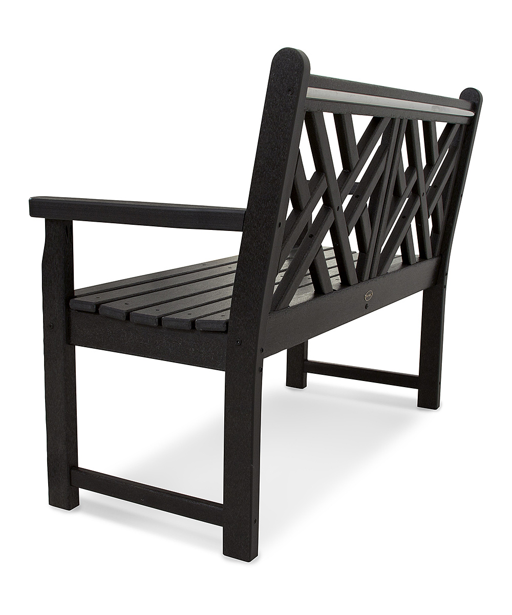 Polywood Black Chippendale Bench Zulily