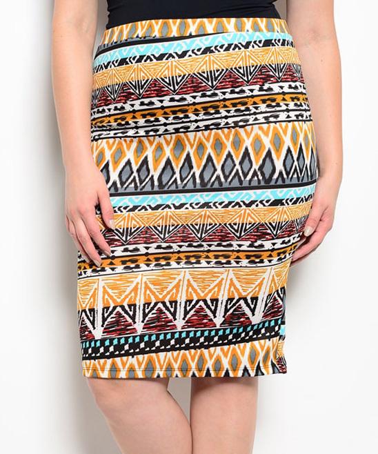 shop the trends mustard geometric pencil skirt plus zulily