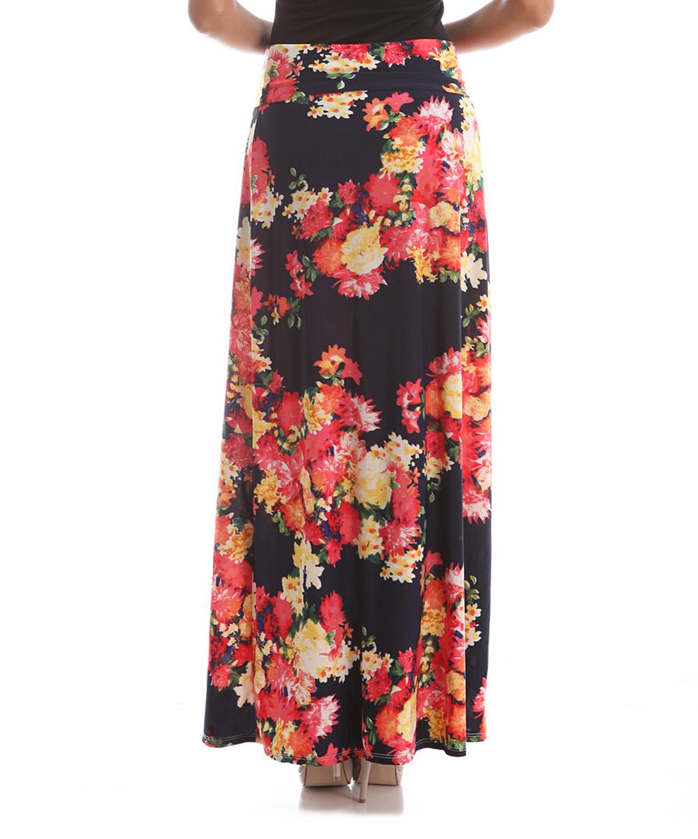 bold beautiful fuchsia black floral maxi skirt plus